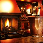 Durban Room fireplace and bar